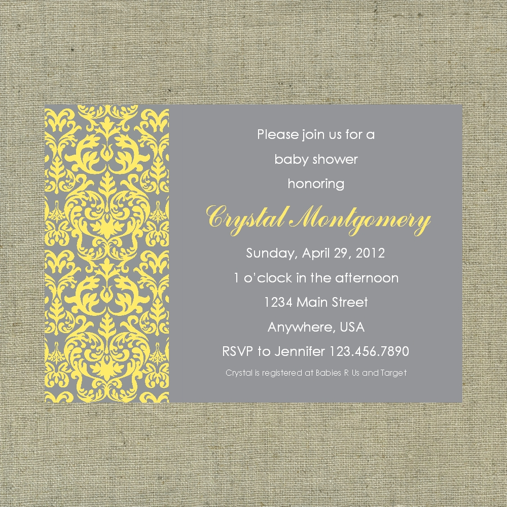 Gray and yellow damask custom printable gender neutral baby shower yellow gray damask baby shower 2 original filmwisefo