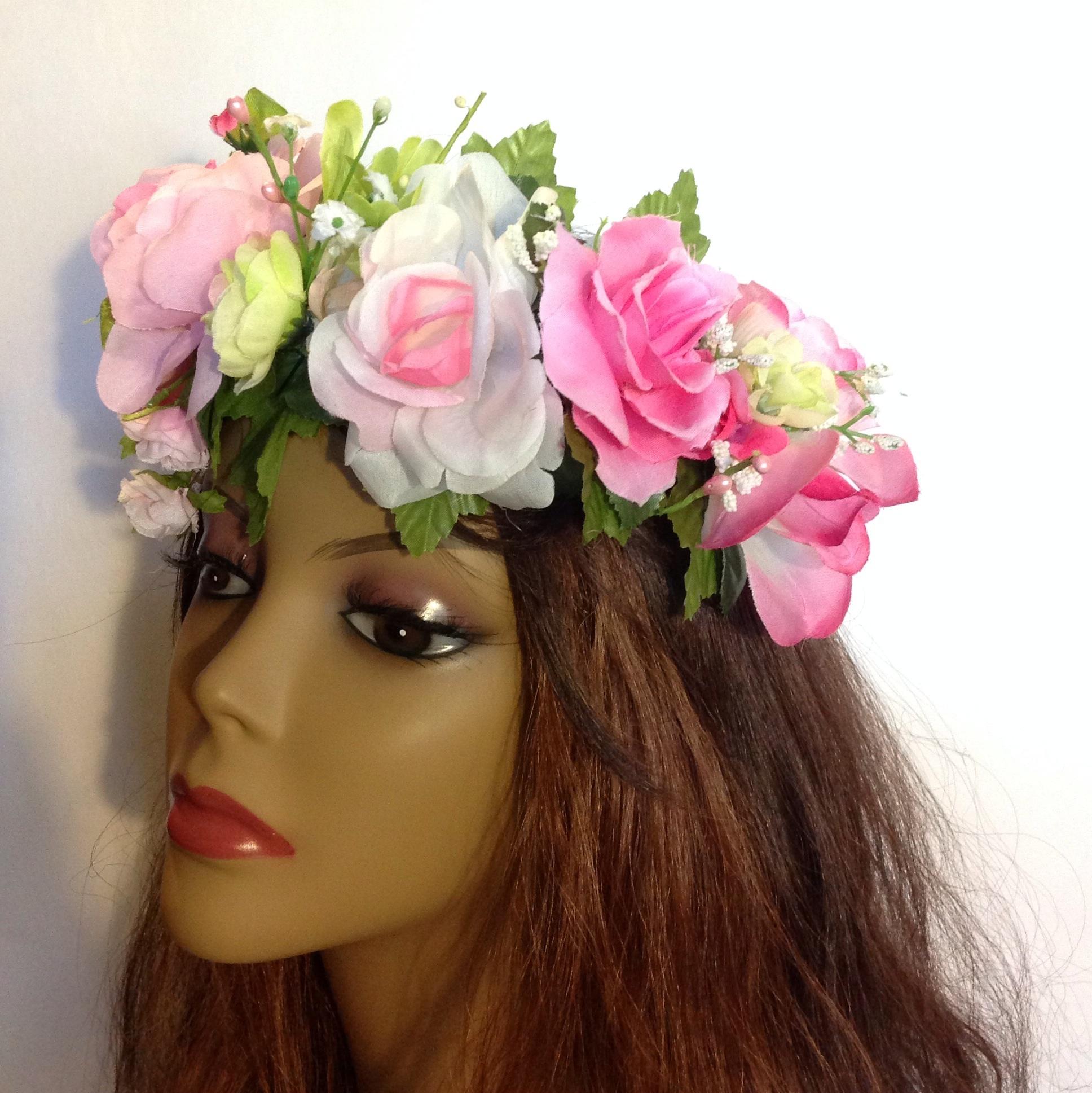 Rose flower crown rave crown festival crown bridal crown floral image original izmirmasajfo
