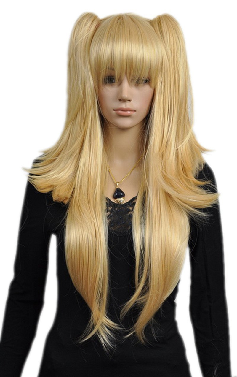 Anime-Long Straight Blonde-Two Ponytail Full Hair Anime Wig-(Blonde ... c91545c66