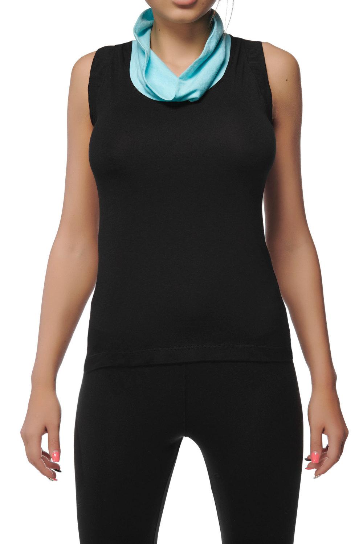 1d0f2e596871f4 Turquoise Cowl Neck Yoga Set- Yoga Tank Top and Black Leggings - Racerback  Yoga Top ...