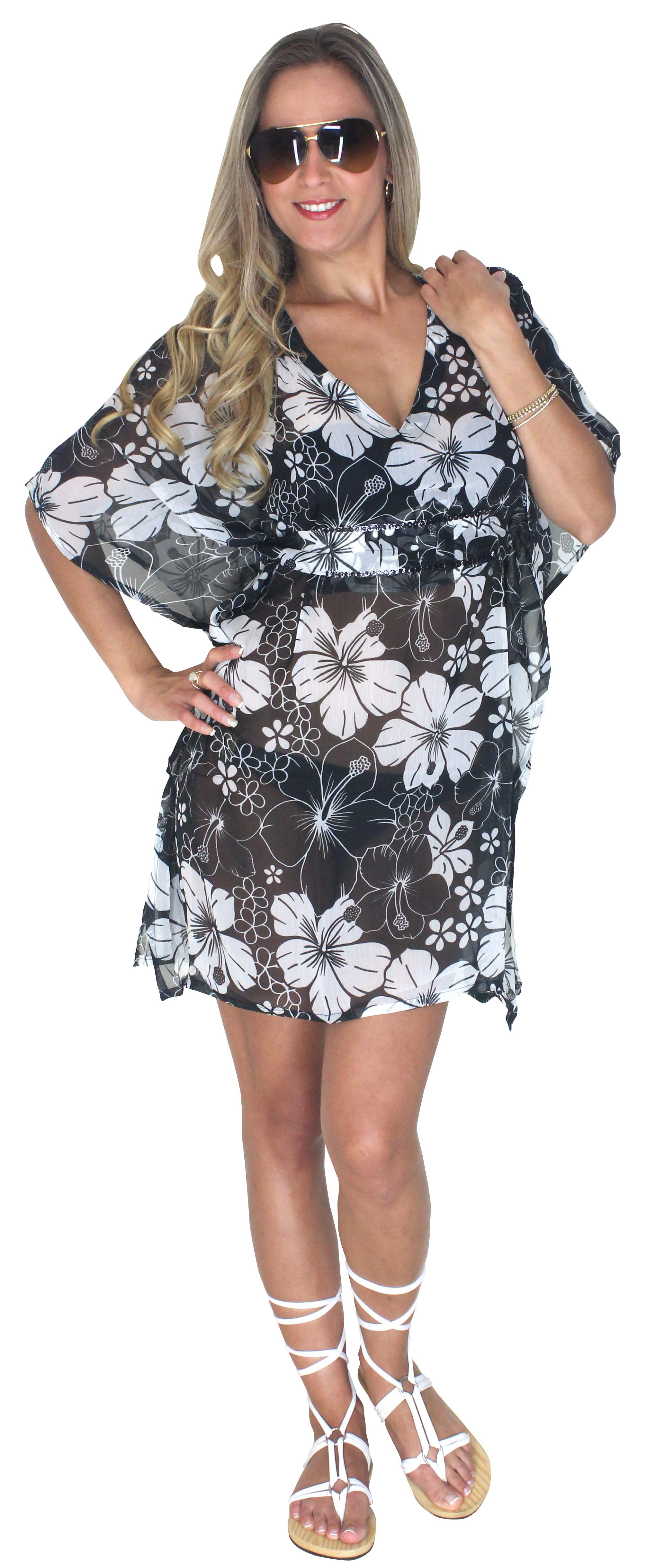 910b33655516a La Leela Black White Floral Printed Beach Swim Cover up Kaftan ...