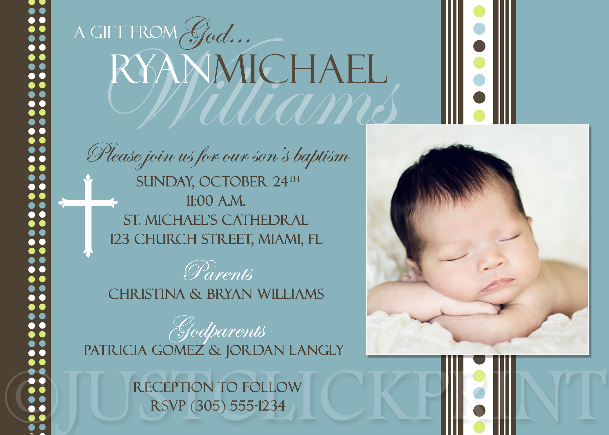 modern boys baptism dedication christening photo invitation