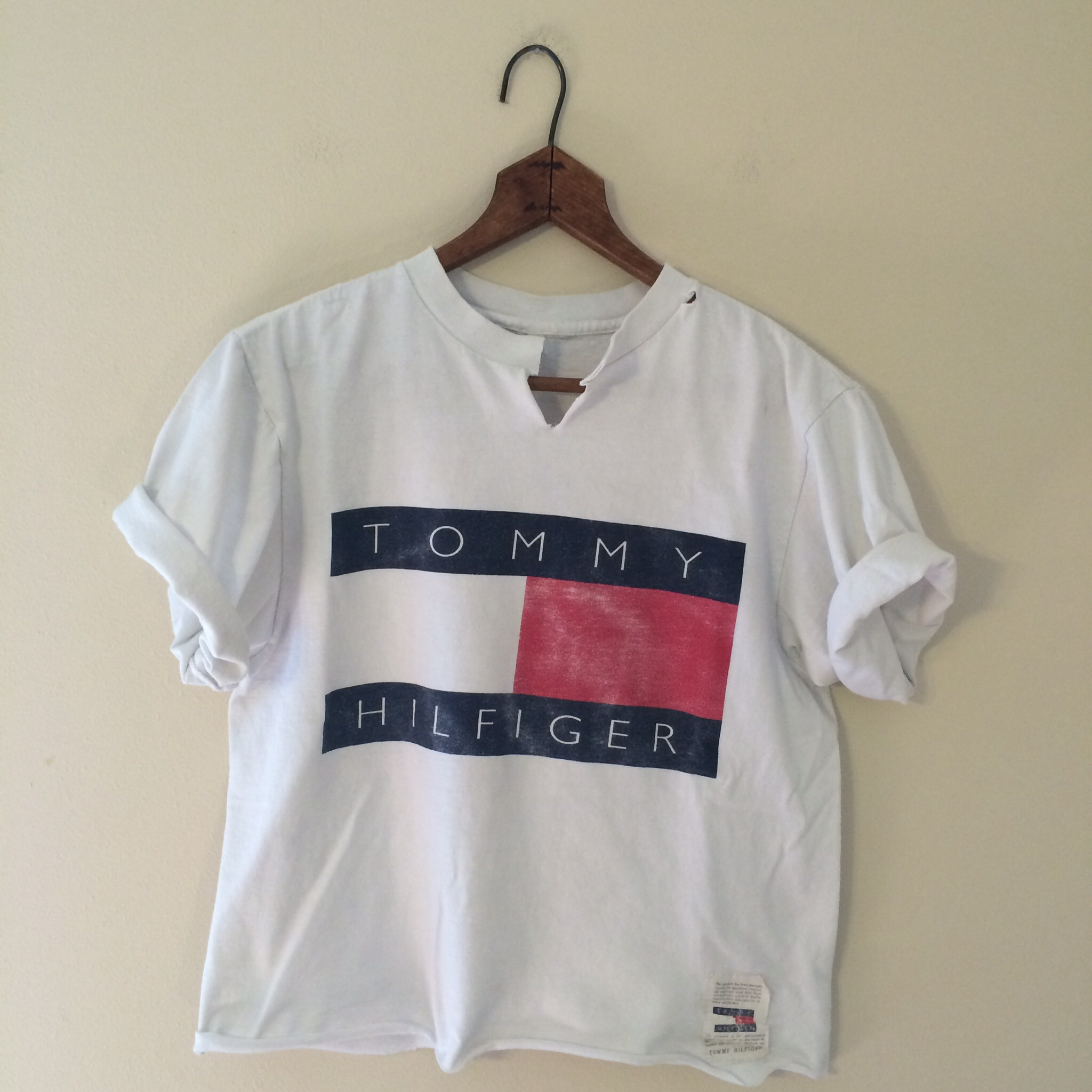 vintage distressed tommy logo crop top on storenvy. Black Bedroom Furniture Sets. Home Design Ideas