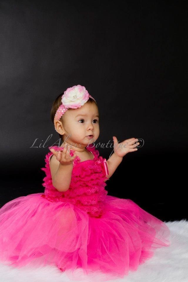 Hot Pink Tutu Skirt Ruffle Lace Romper Top Dress Set