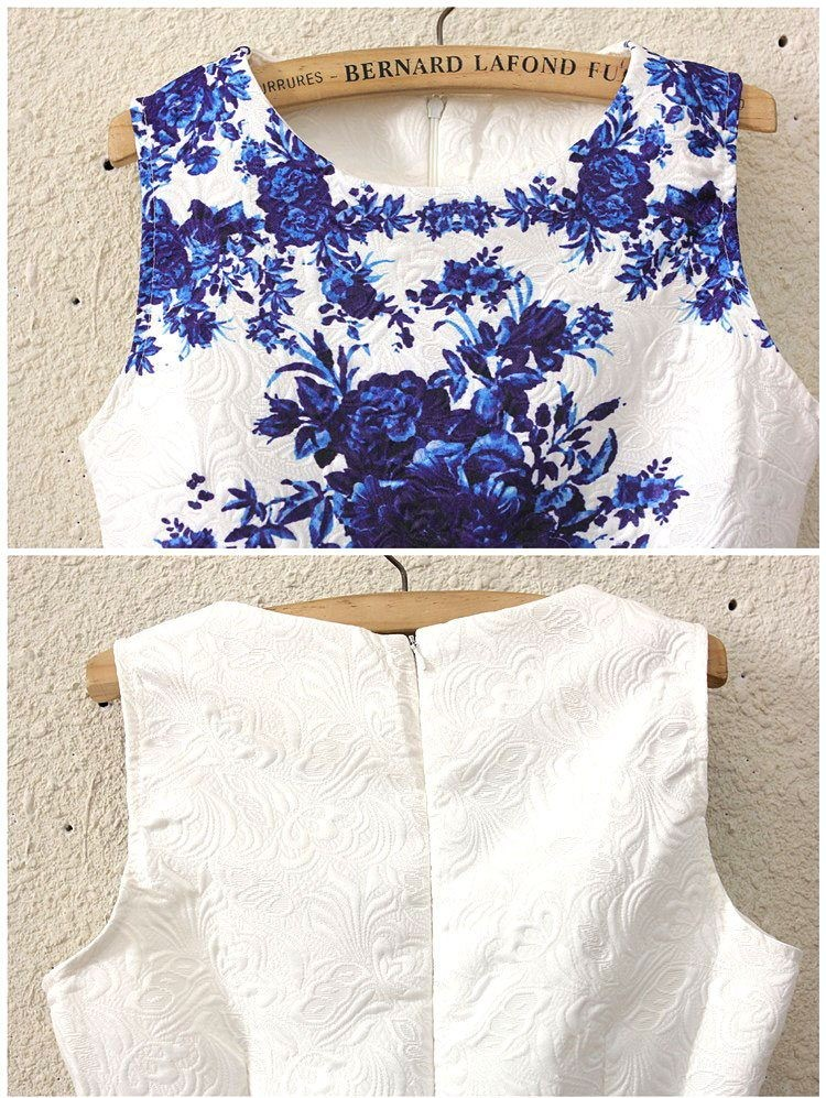 Outletpad Sleeveless White Porcelain Floral Print Flare