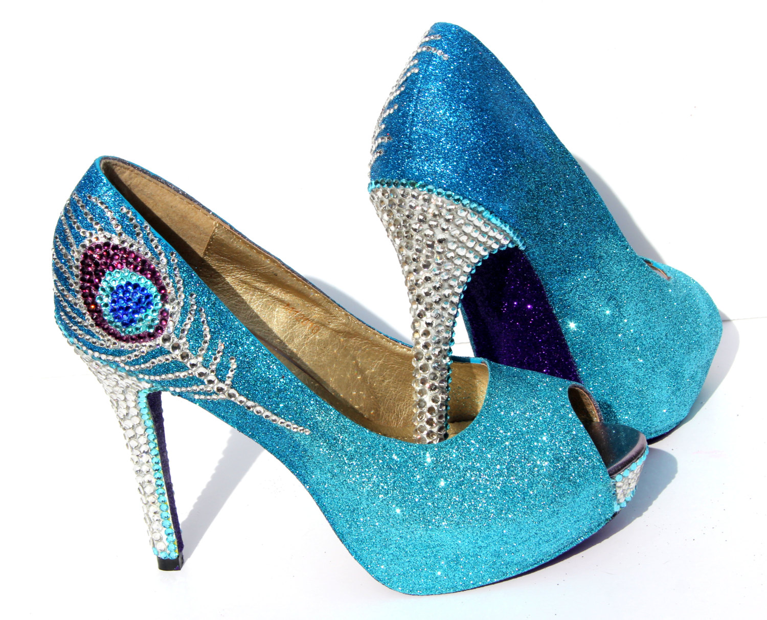 Peacock Heels In Aqua Blue And Purple Glitter Heels With