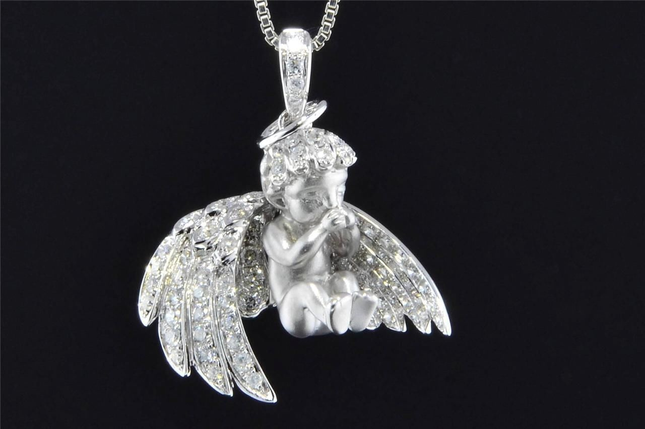 Diamond baby angel pendant 14k white gold 112 ct cupid charm with diamond baby angel pendant 14k white gold 112 ct cupid charm with chain comes with 18 aloadofball Image collections