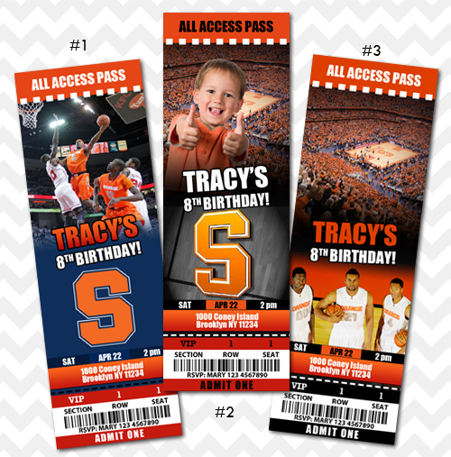 Syracuse University Ticket Invitation Basketball Birthday Invite On