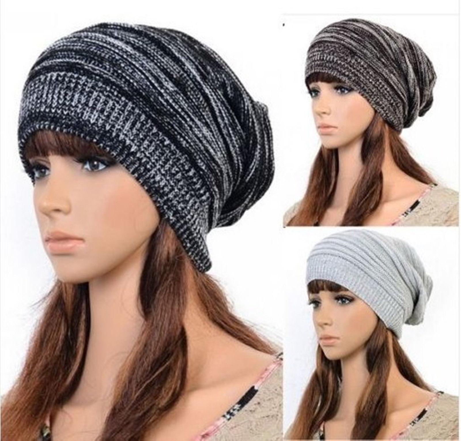 Unisex Women Men Knit Baggy Beanie Beret Winter Warm Oversized Ski Cap Hat PW