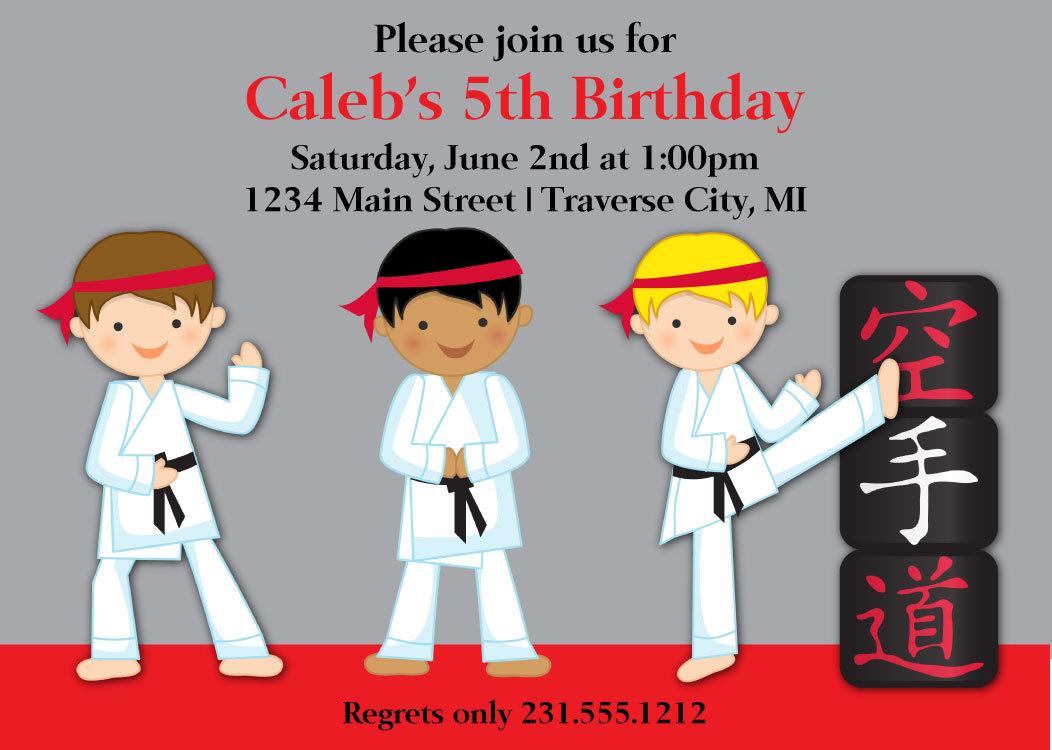 Karate Invitation Printable Birthday Invitation Choose Boys Hair