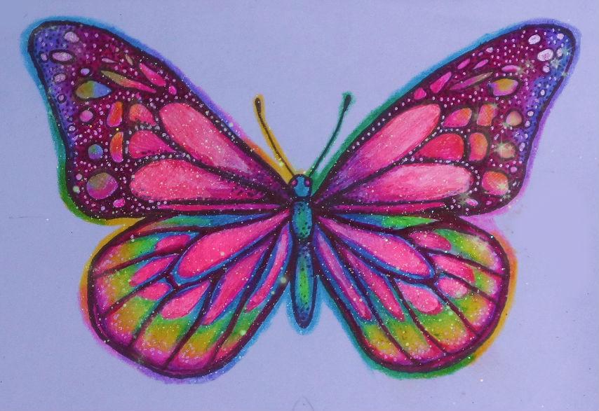 Glittery butterfly sticker