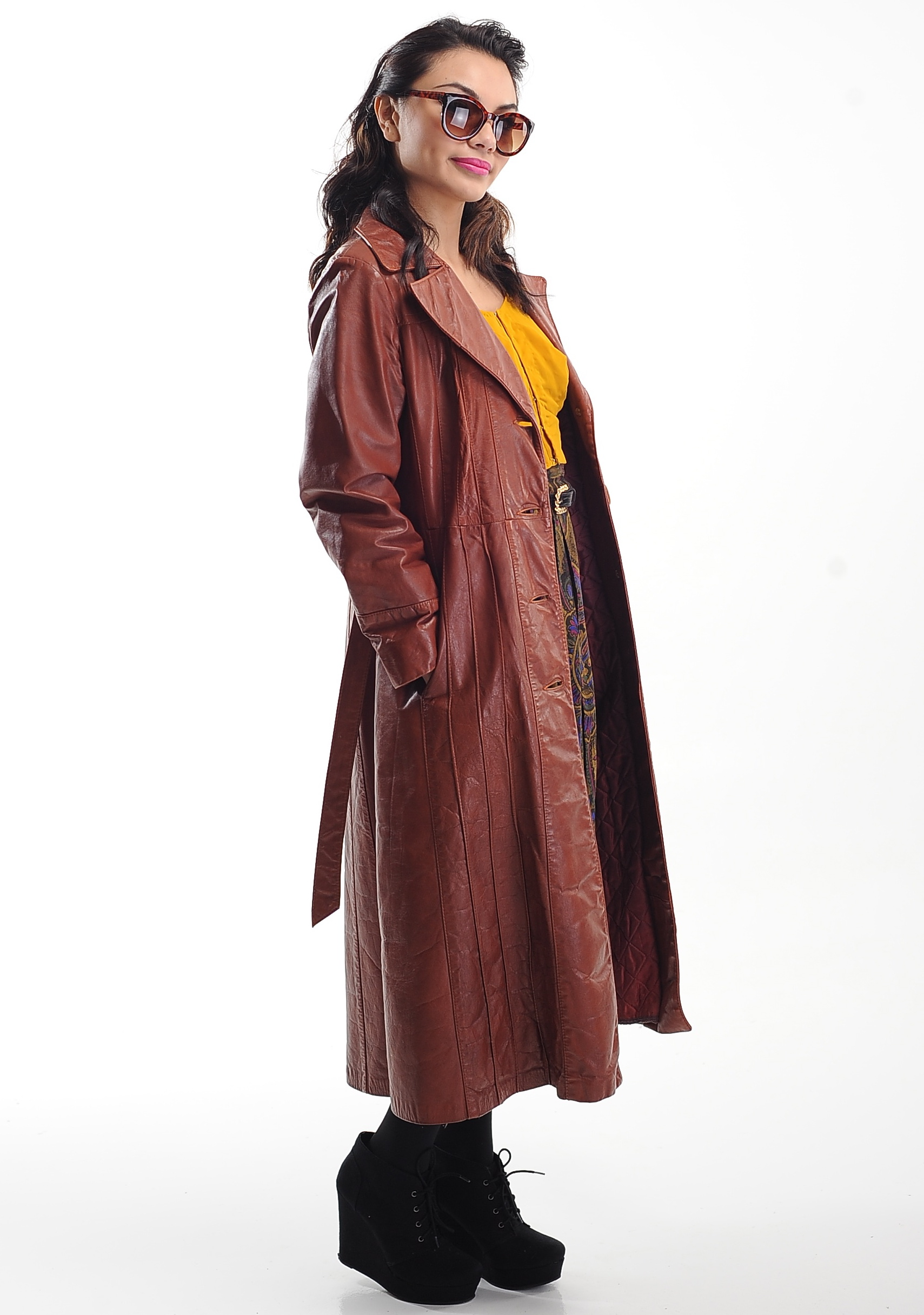 e11869543 70's Brown Leather Spy Trench Coat Size Small