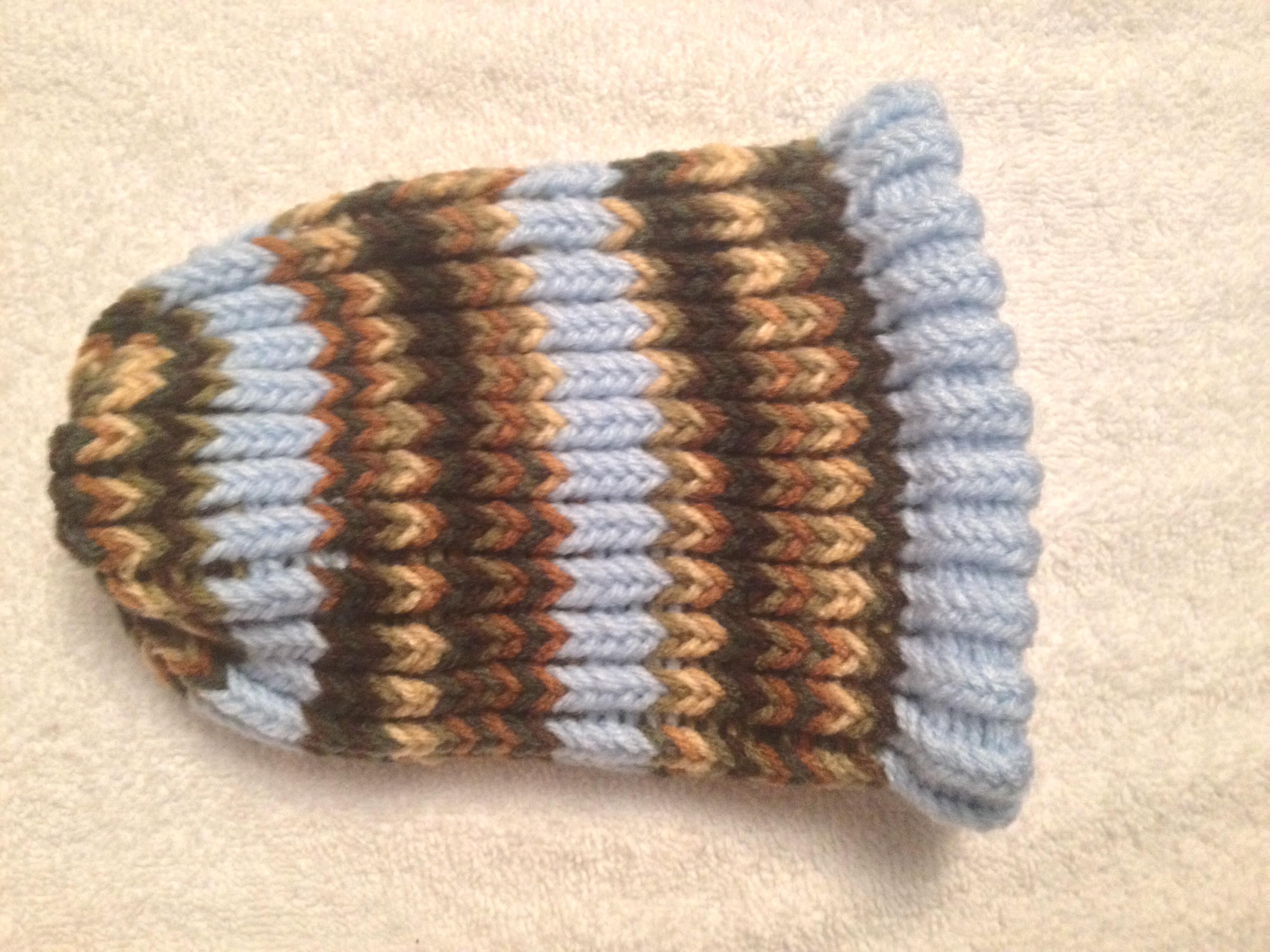 beb974244 Camo with Light Blue Stripes Newborn Baby Hat