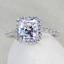3 Ct Center Princess Radiant Cut Nscd Sona Simulated Diamond Wedding Engagement Ring With Halo From Port City Jewelers