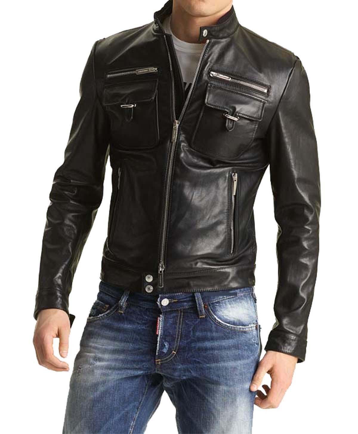 Men S Biker Leather Jacket Slim Fit Leather Jacket Mens