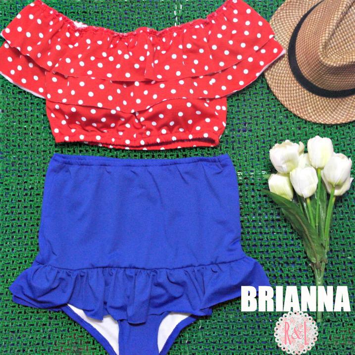 c472004b2d4 Brianna - Retro Vintage Pin Up Handmade Blue Red White Polka Dot Crop Top  Peplum High Waist Bikini Swimsuit Swimwear on Storenvy