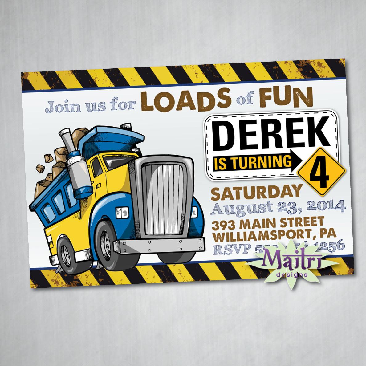 Monster Dump Truck Digital Printable Birthday Invitation on Storenvy