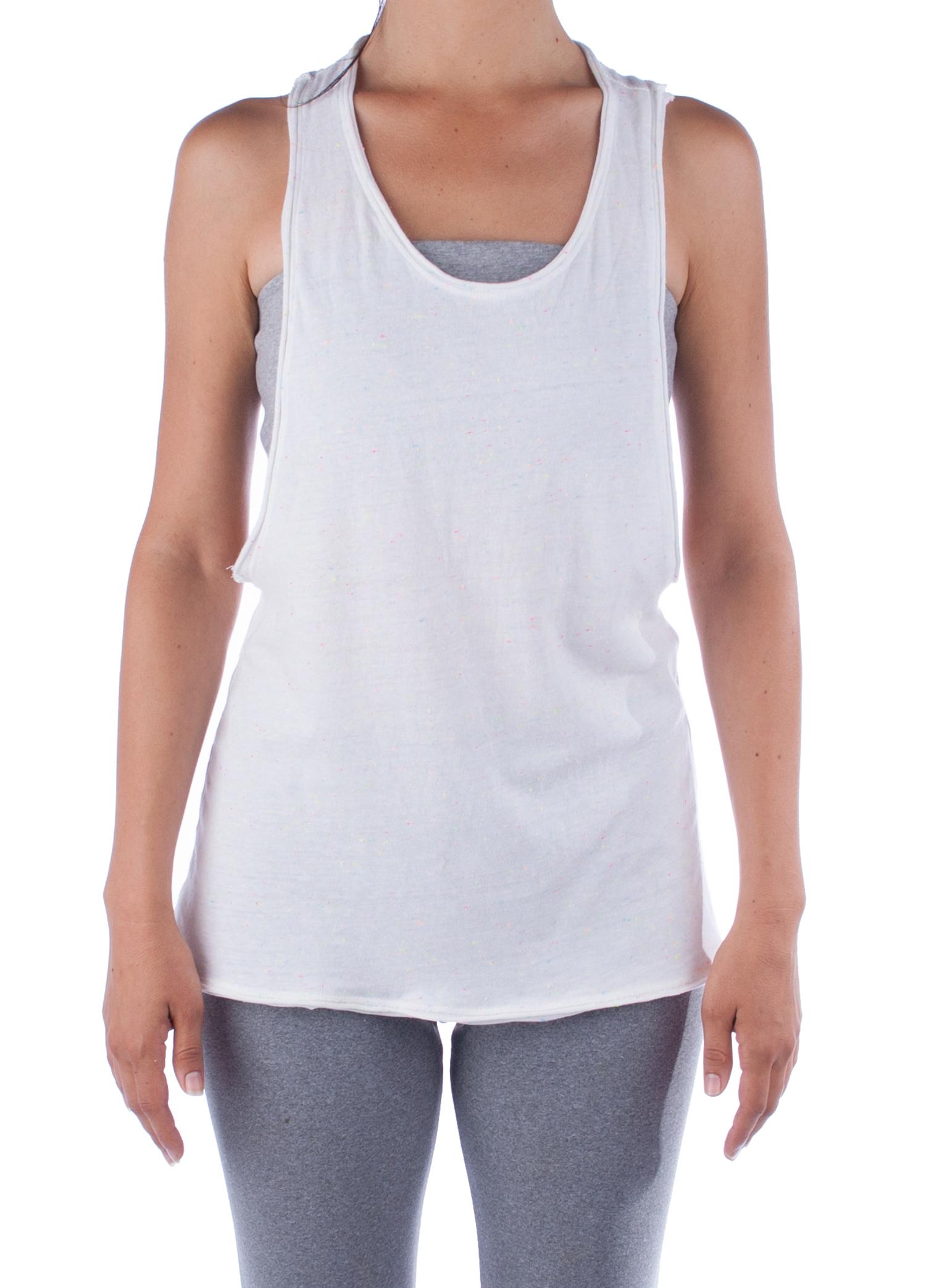 006d90a90842e3 ... Organic Cotton Yoga Vest - Loose Racerback Yoga Tank - Candy Sprinkled  White Yoga Top -