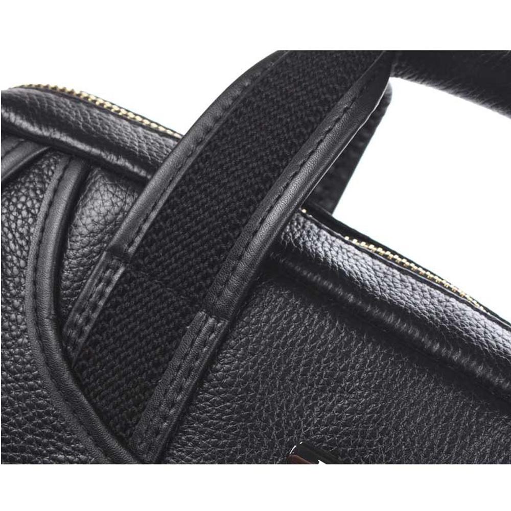 edb2056db3ca ... Men s Black Cowhide Leather Workbag Courier Shoulder Messenger Crossbody  Bag 11