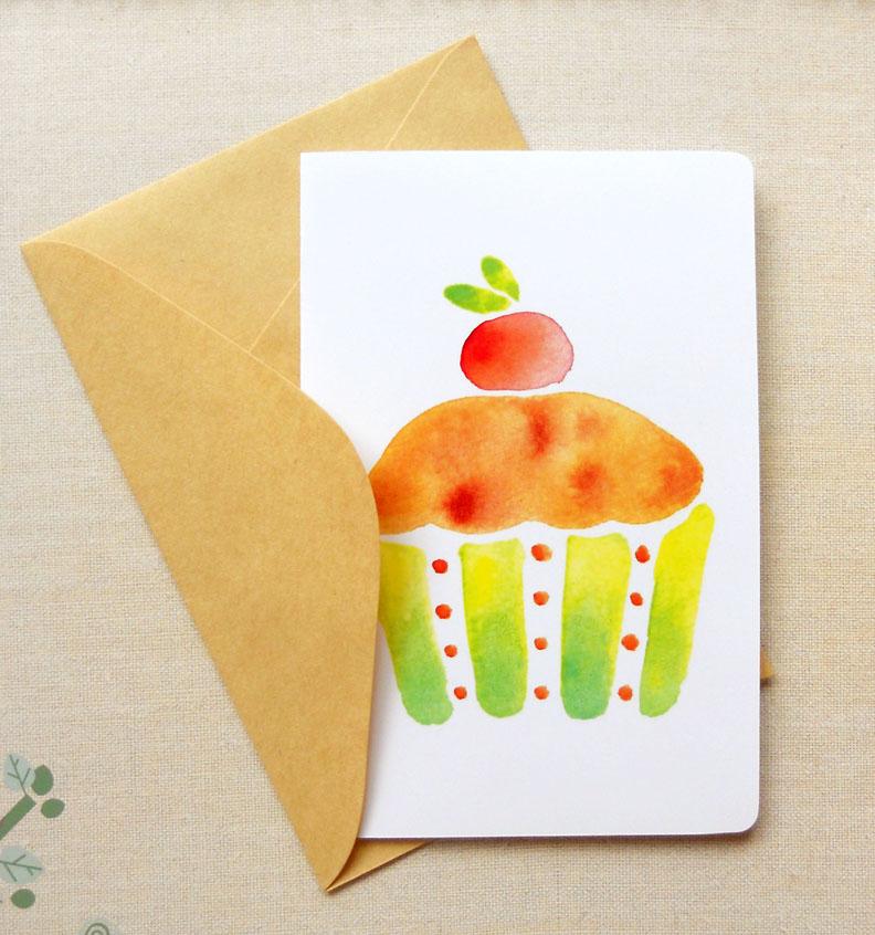 Sweet Cupcake 4x6 Happy Birthday Card Thank You Notecard
