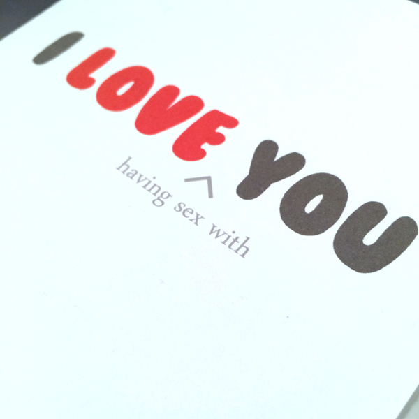 Greeting card love sex