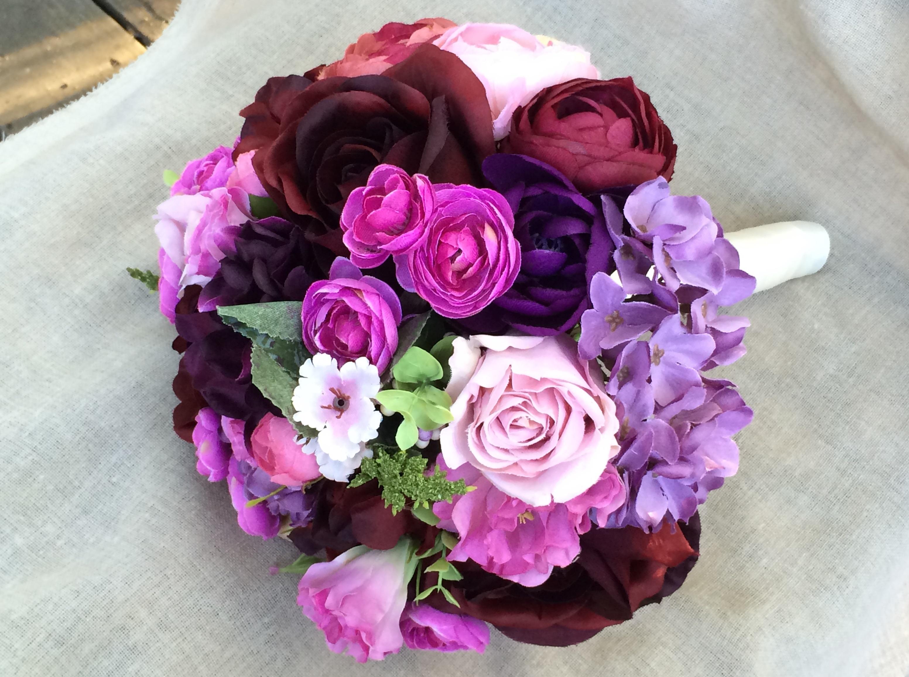 Purple Wedding Bouquet. Burgundy Fuchsia Lilac Purple Hydrangea ...