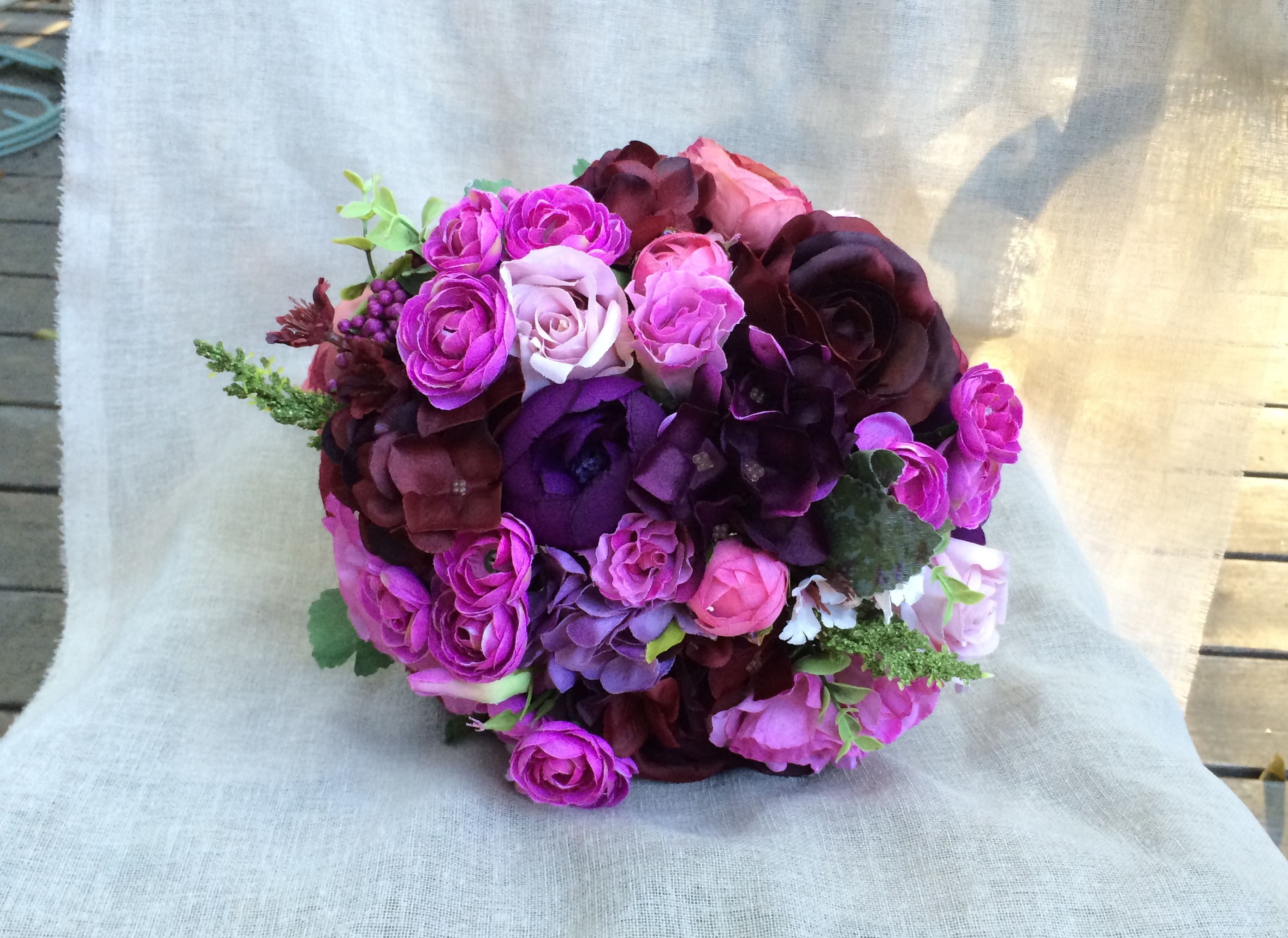 Purple Wedding Bouquet Burgundy Fuchsia Lilac Purple Hydrangea