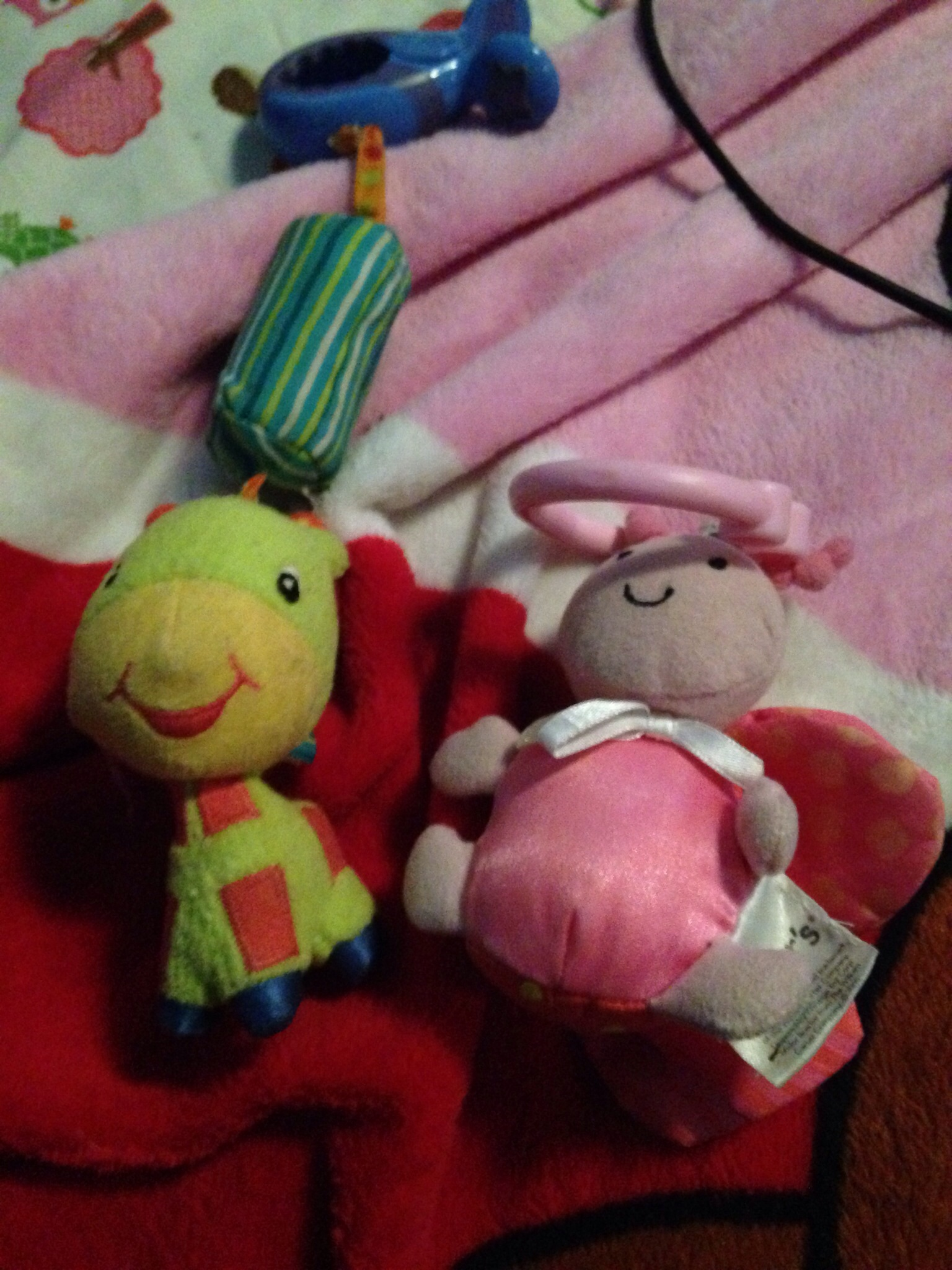 Two Baby Stroller Car Seat Toys Giraff And Lady Bug From Littlekittencreations