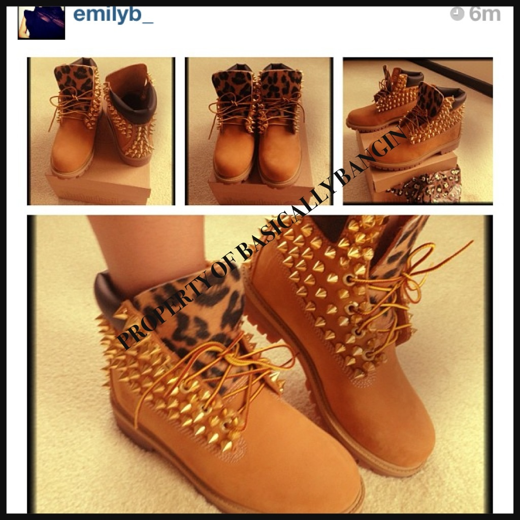 6abd20cf95b6 Wheat   Leopard Gold Spiked Timberlands (ADULTS SIZES 8.5-UP on Storenvy
