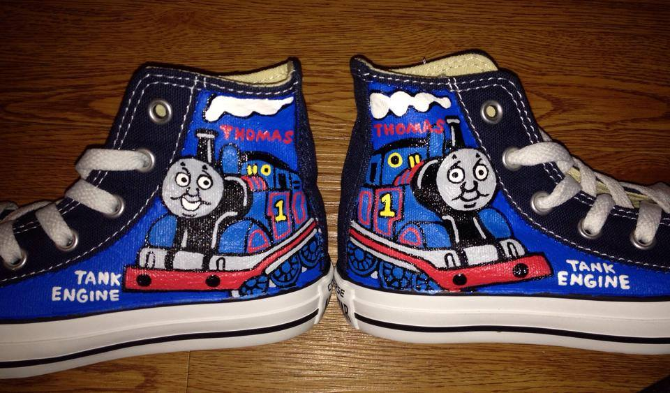 2e408e0fb224 Thomas the Train Hand Painted Kids Converse on Storenvy