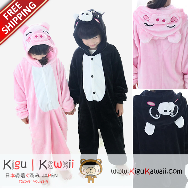 3958d1f9b896c New Pink and Black Pig Animal Costume Kids Kigurumi Onesie KK272 Free Ship  from Kigu Kawaii Shop