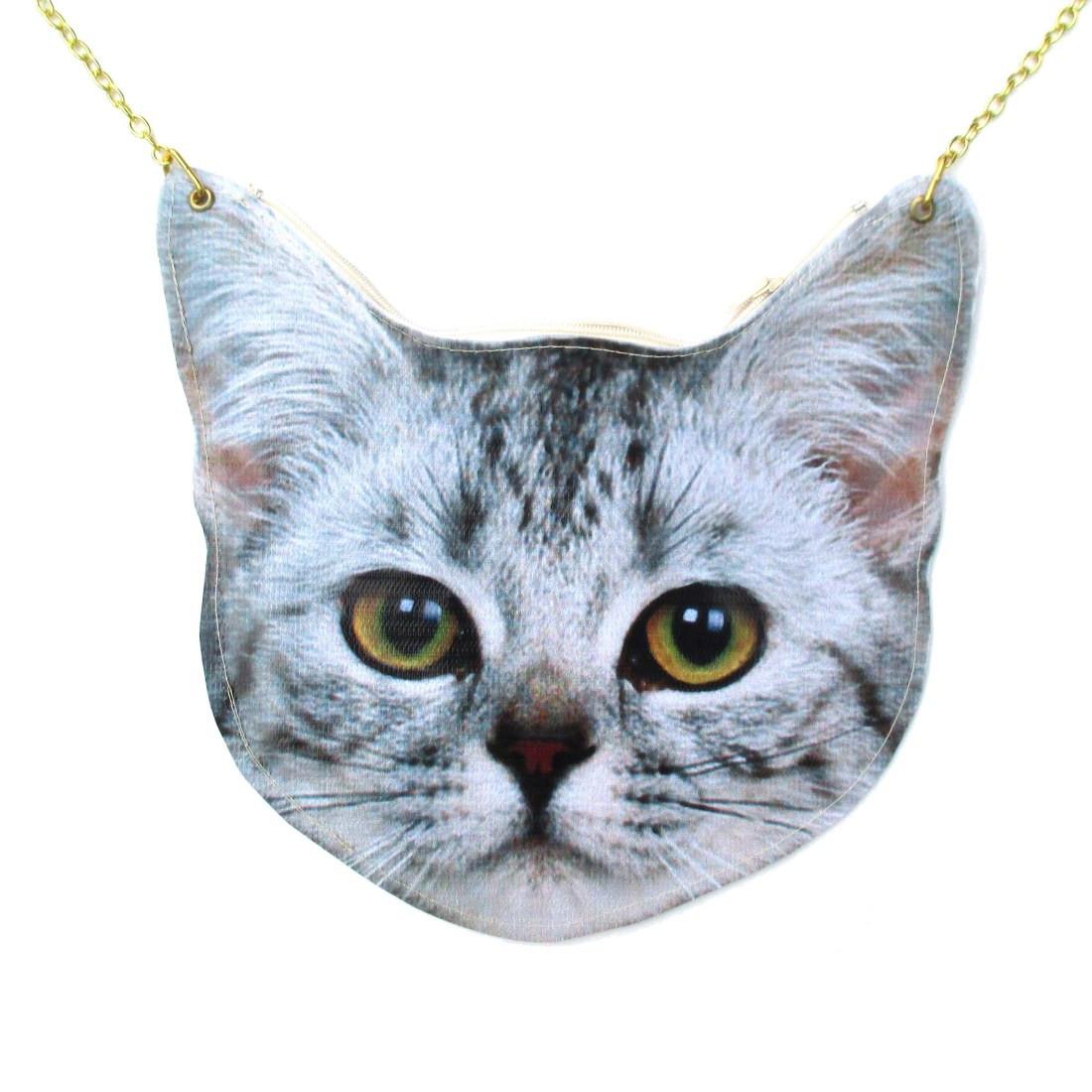 Realistic Tabby Kitty Cat Head Shaped Vinyl Animal Themed ...