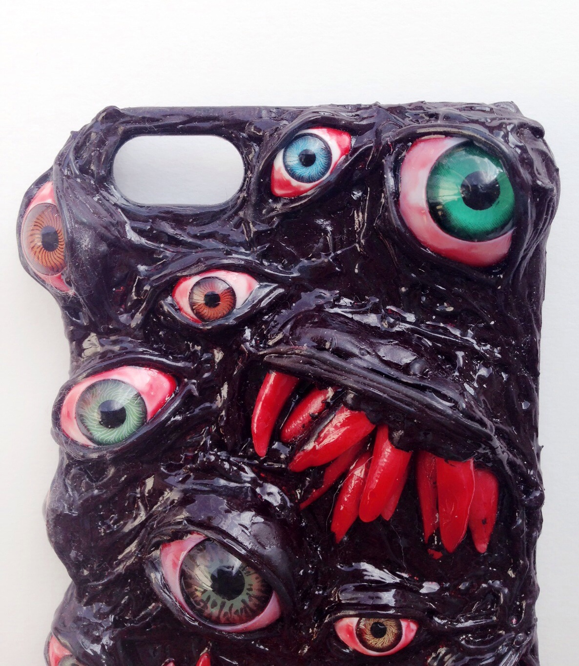 Handmade Decoden Phone Case Surreal Custom Horror Phone Case Eyeball Punk Psychohilly