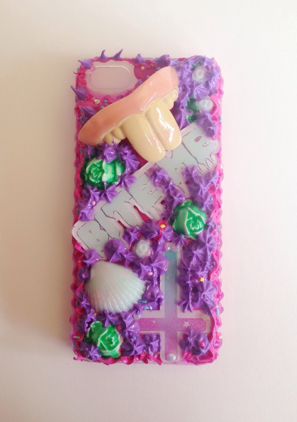 Handmade Decoden Phone Case Custom Iphone Case Fun Teeth Shell Glow