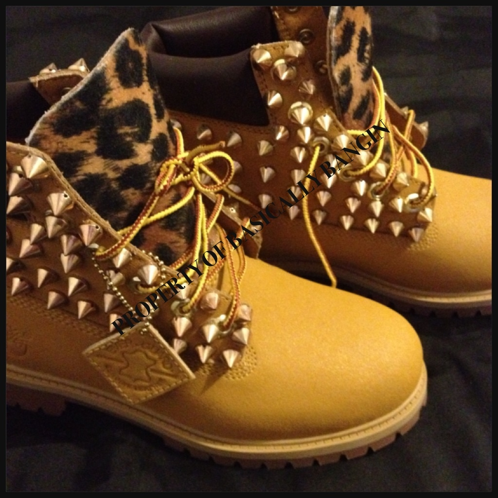 95b992df43a8 Wheat   Leopard Gold Spiked Timberlands (BIG KIDS Sizes 3.5-6) on ...