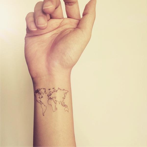 2pcs World Map Love Travel Wrist tattoo - InknArt Temporary Tattoo ...