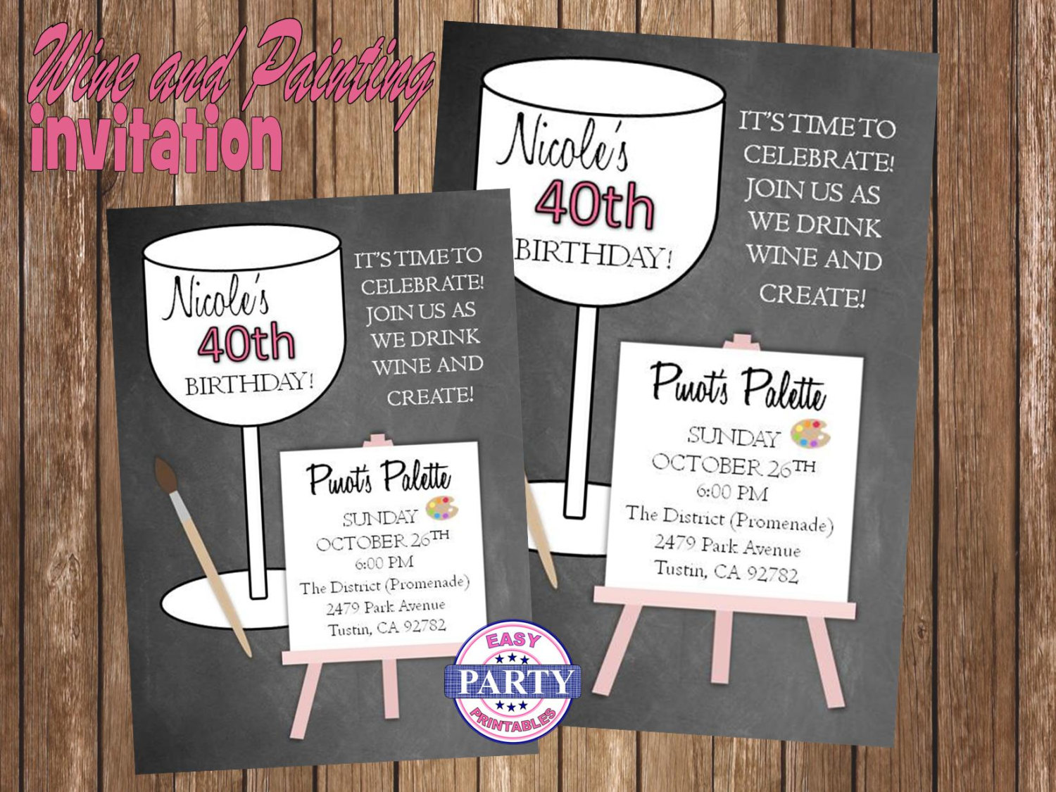 Wine Party Personalized Birthday Invitation Chalkboard Gray Pink Glass Of