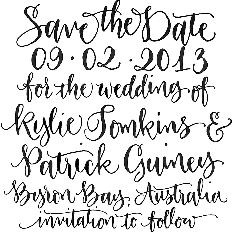 save the date custom handwritten calligraphy stamp angeliqueink