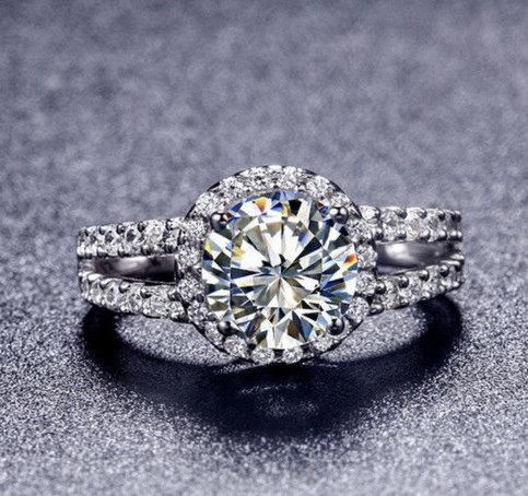 2 Ct Center Round Cut Nscd Sona Diamond Engagement Wedding