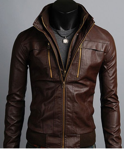 Men's Leather Jackets Korea Style Casual Slim Fit, Biker ...
