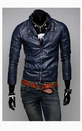 Navy Blue Leather Jacket Men S Men Slim Fit Biker Jacket