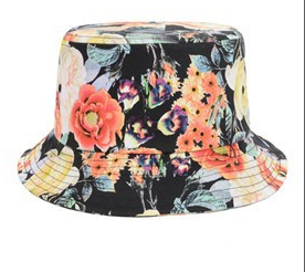 3778a56490e94d black and orange floral bucket hat · tightwork · Online Store ...