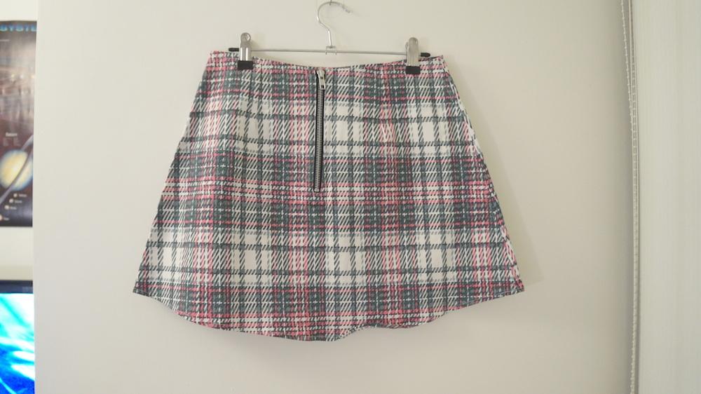 4690590817 ... Nasty Gal Motel Rocks Pink Grey White Plaid Tartan A-line Skirt S -  Thumbnail ...