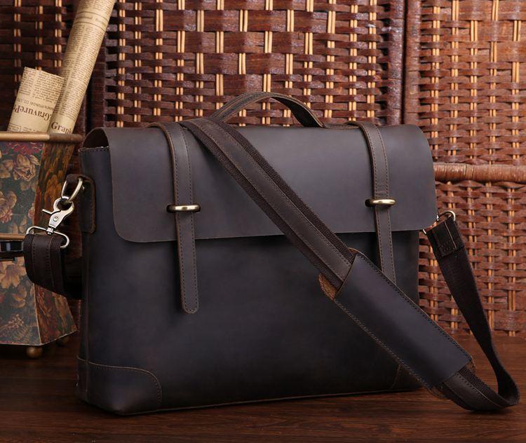 53dc3fa1d3 Men's Handmade Vintage Leather Briefcase / Leather Messenger Bag / 13