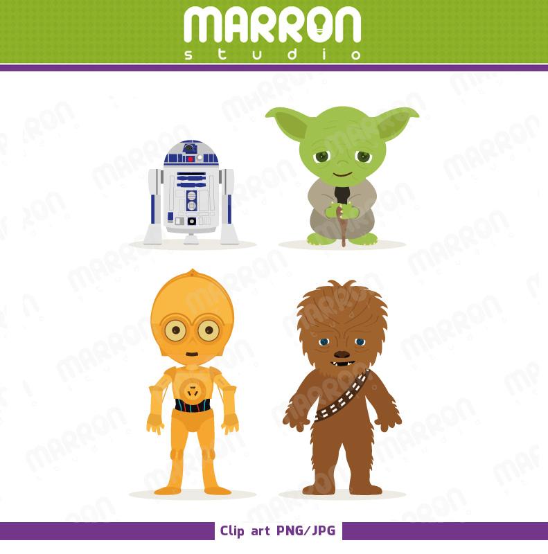 Star Wars Inspired Set Kids Star Wars Inspired Chewbacca C3p0 R2d2 And Yoda Clip Art