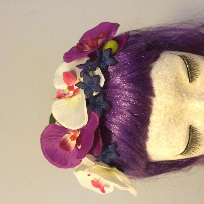 Black and purple tiki flower crown on storenvy image original izmirmasajfo