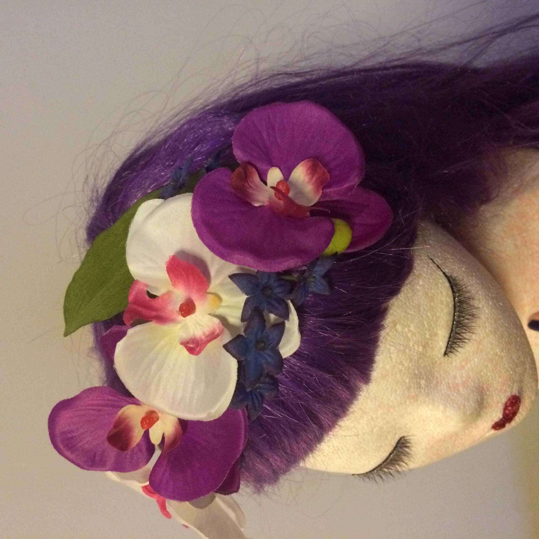 Black And Purple Tiki Flower Crown On Storenvy