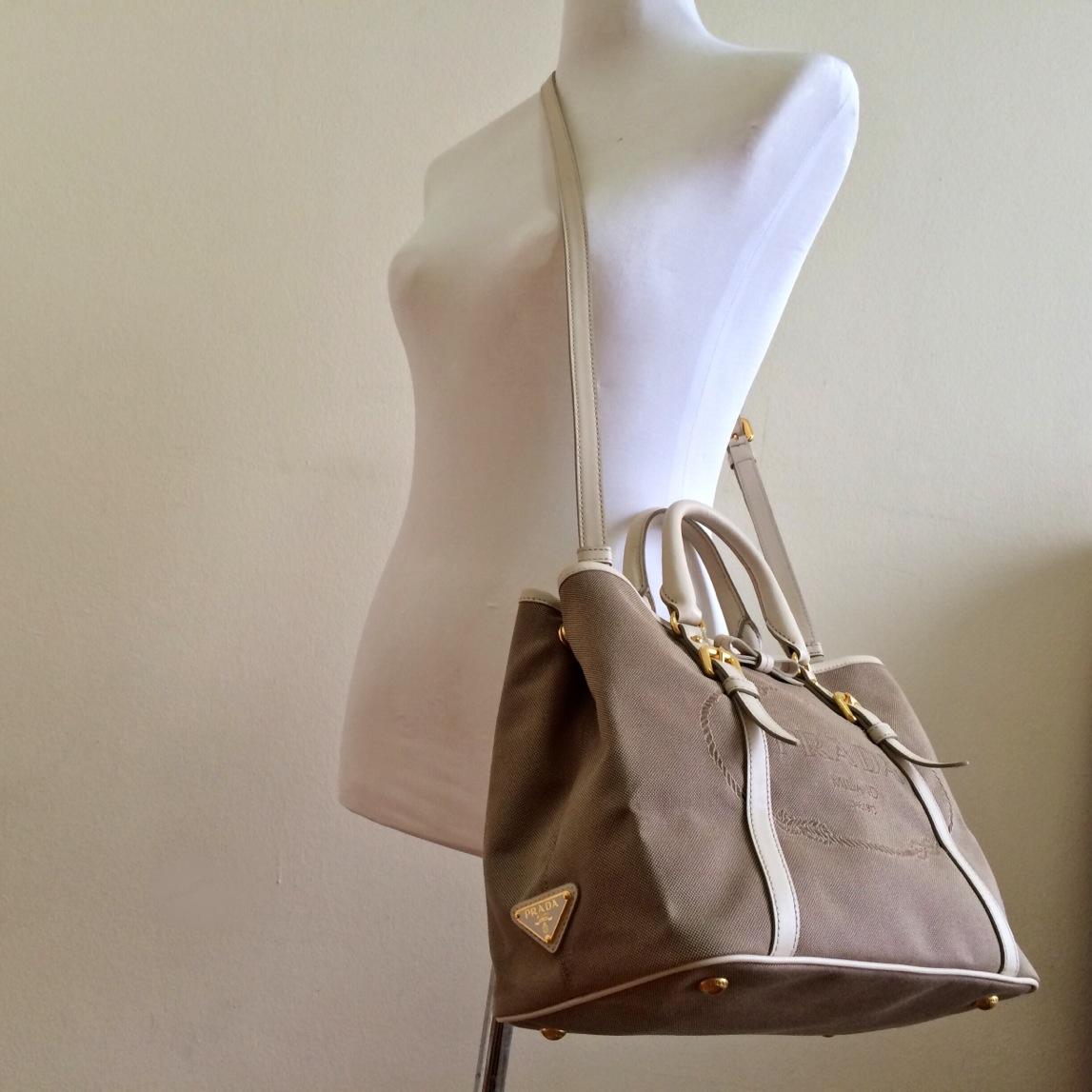 da13e13bd636 PRADA Talco Logo Jacquard Bauletto Aperto Bag on Storenvy