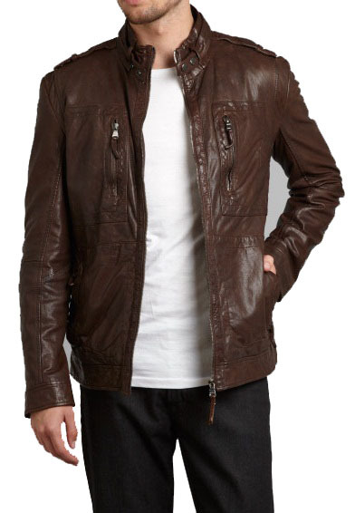 26c99a596cb MENS BROWN BIKER LEATHER JACKET