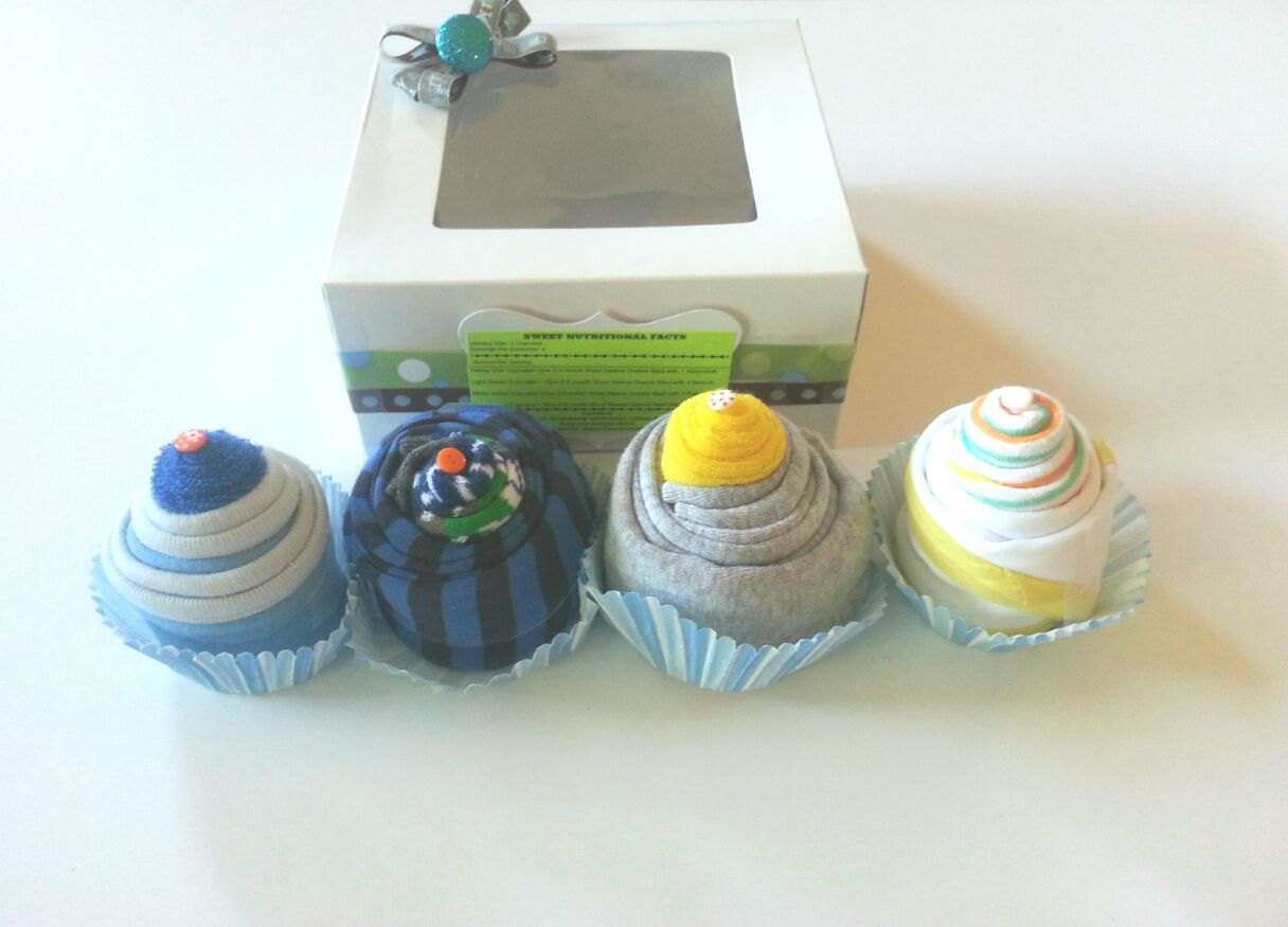 Bodysuit Washcloth Cupcake Infant Newborn Baby Shower Gift Boy Girl New